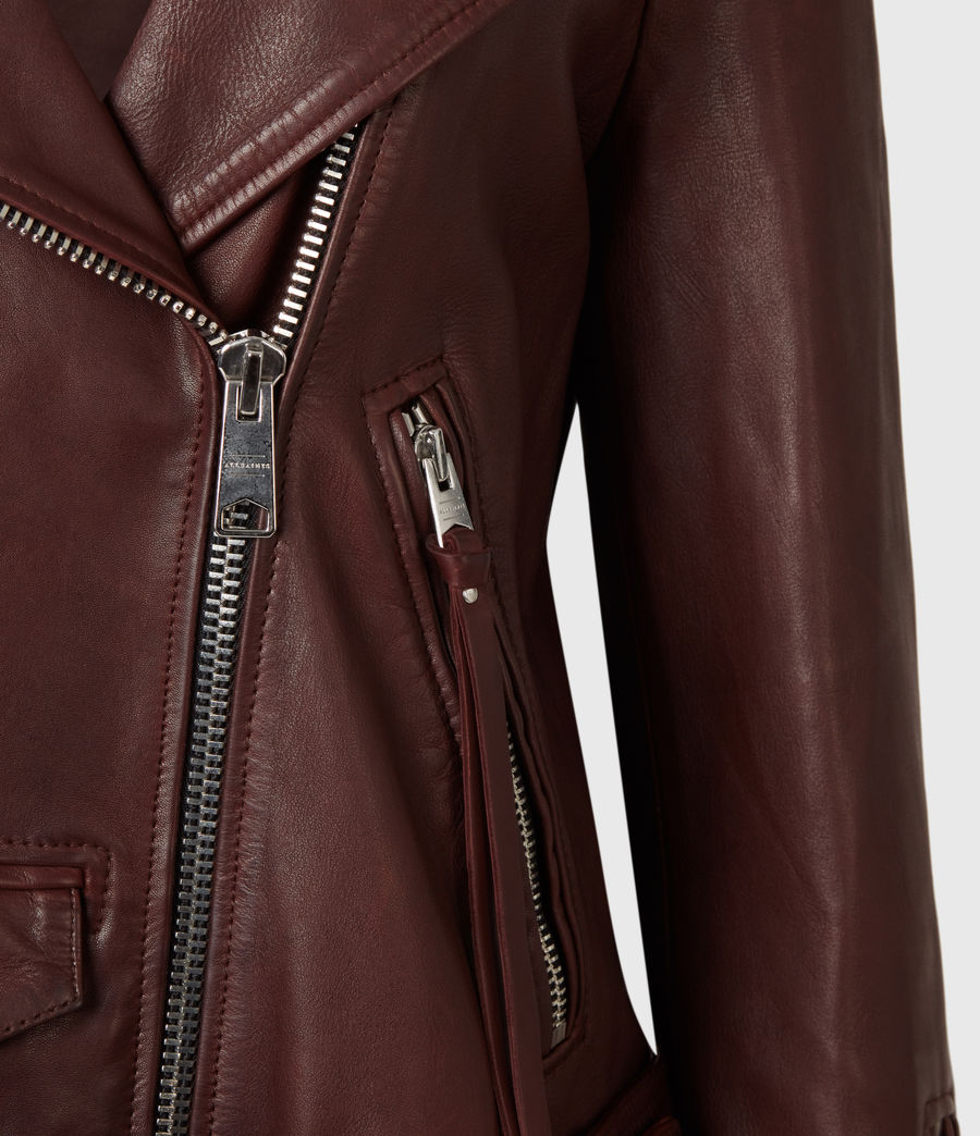 Women's Luna Leather Biker Jacket (oxblood_brown) - Image 5