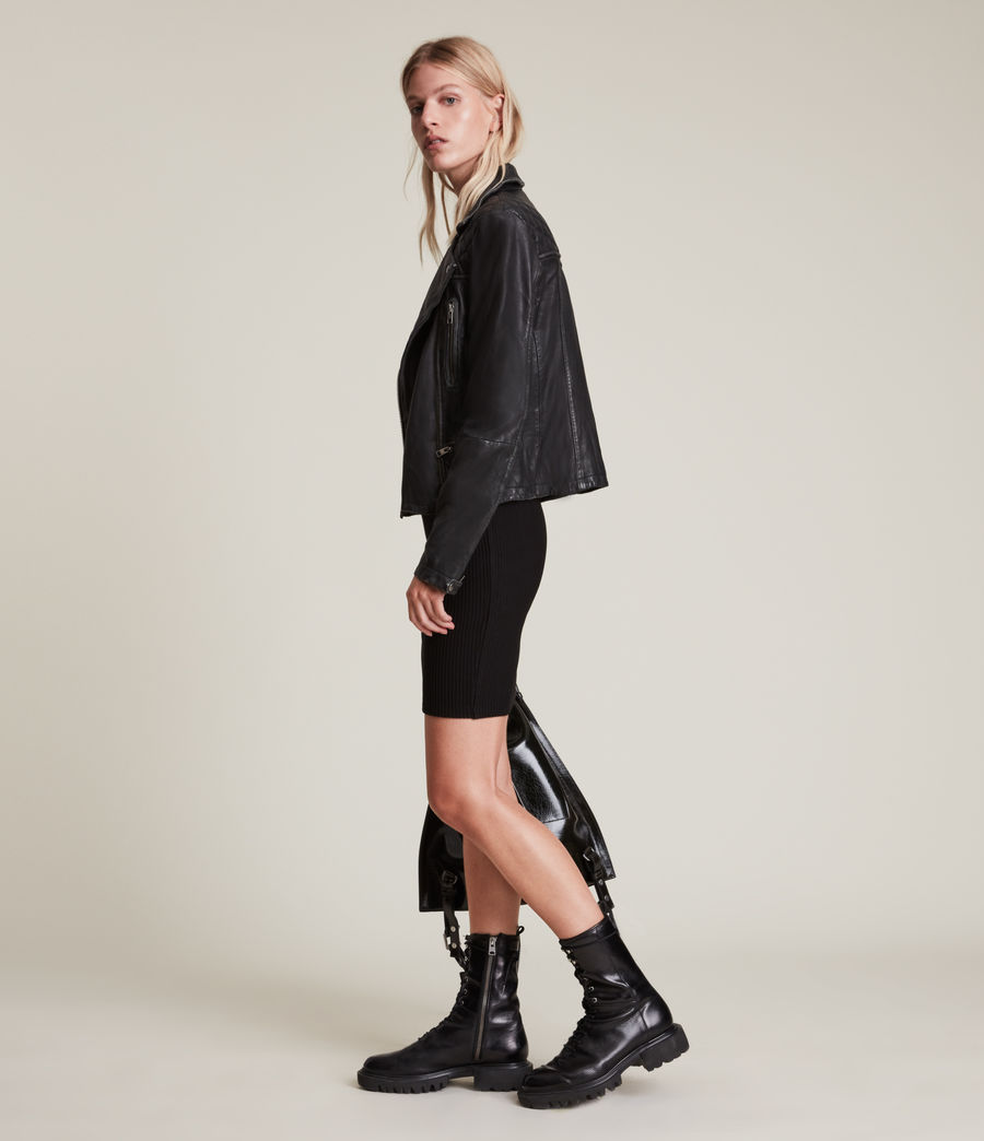 Womens Cargo Leather Biker Jacket (black_grey) - Image 7