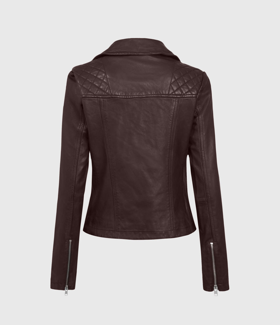 Mujer Catch Leather Biker Jacket (black) - Image 1