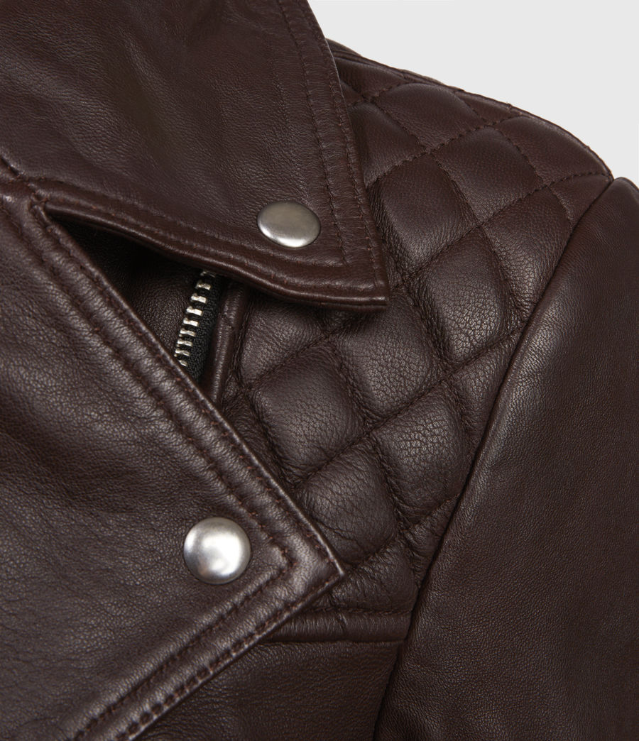 Womens Catch Leather Biker Jacket (oxblood_red) - Image 2