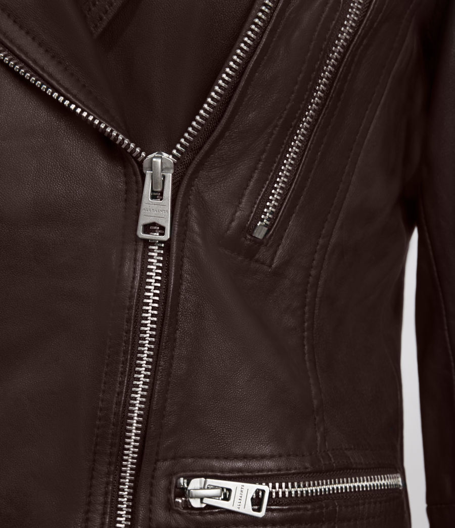 Womens Catch Leather Biker Jacket (oxblood_red) - Image 3
