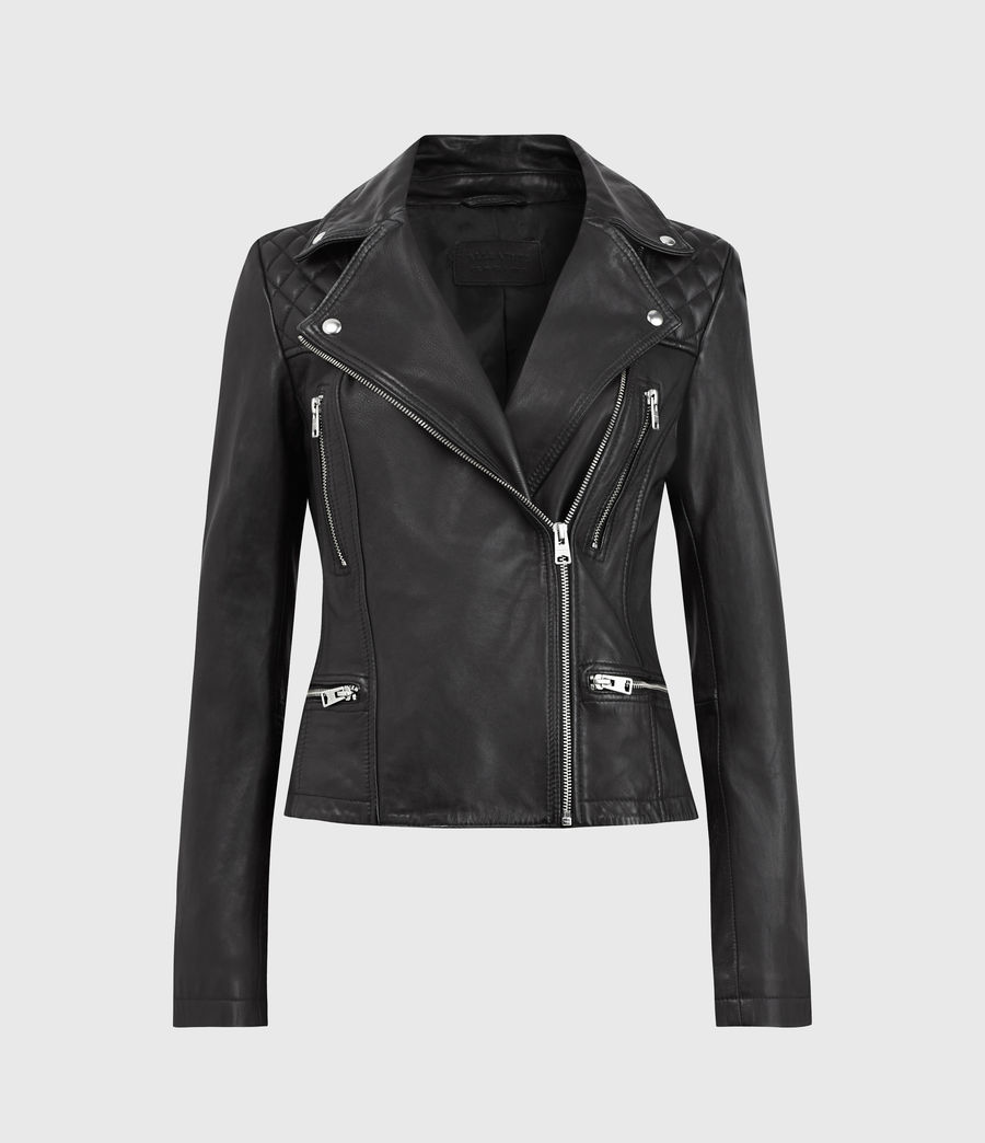 Women's Catch Leather Biker Jacket (black) - Image 1