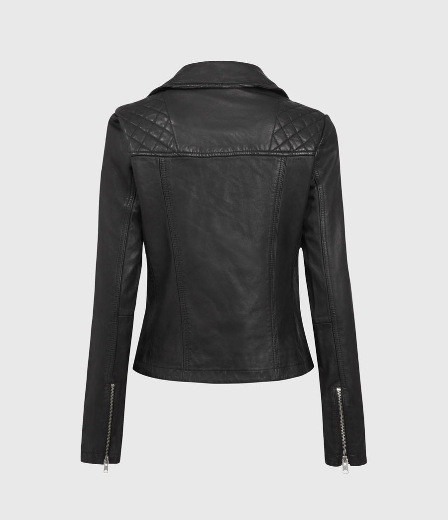 Women's Catch Leather Biker Jacket (black) - Image 2