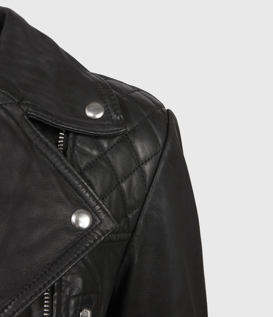 Women's Catch Leather Biker Jacket (black) - Image 3