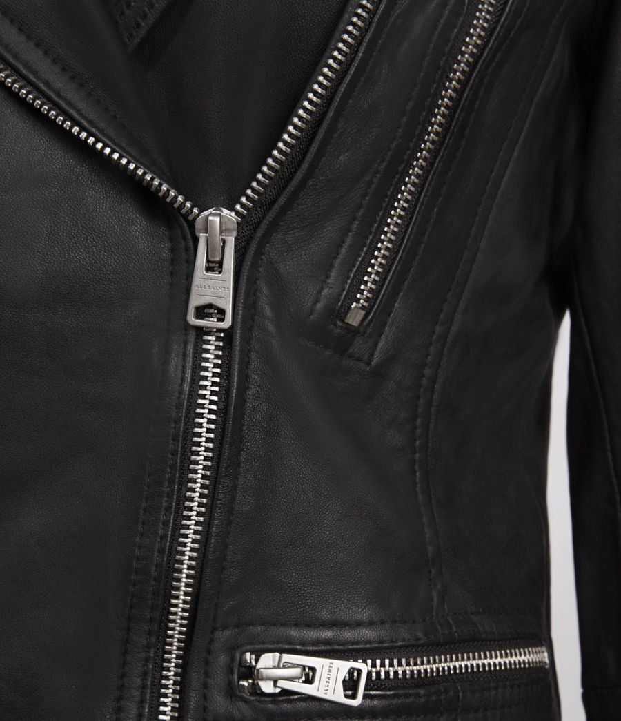 Women's Catch Leather Biker Jacket (black) - Image 4