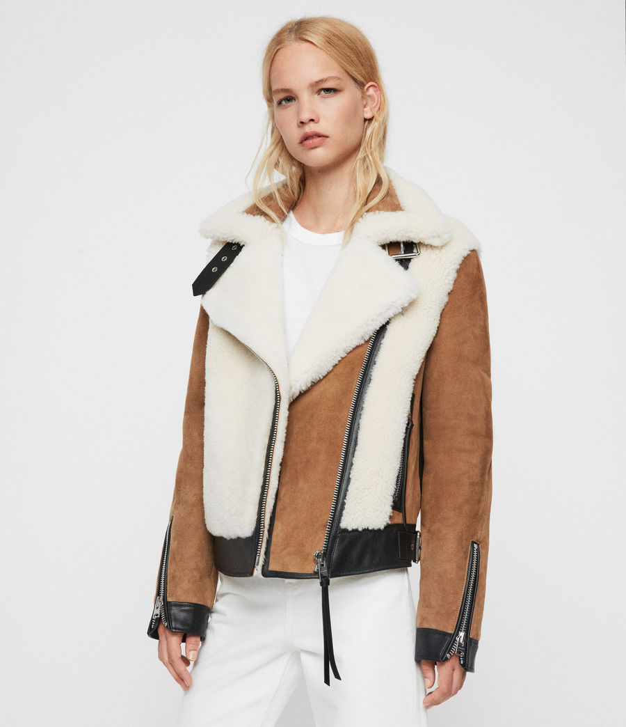 Womens Elia Shearling Biker Jacket (toffee_chalk_white) - Image 1