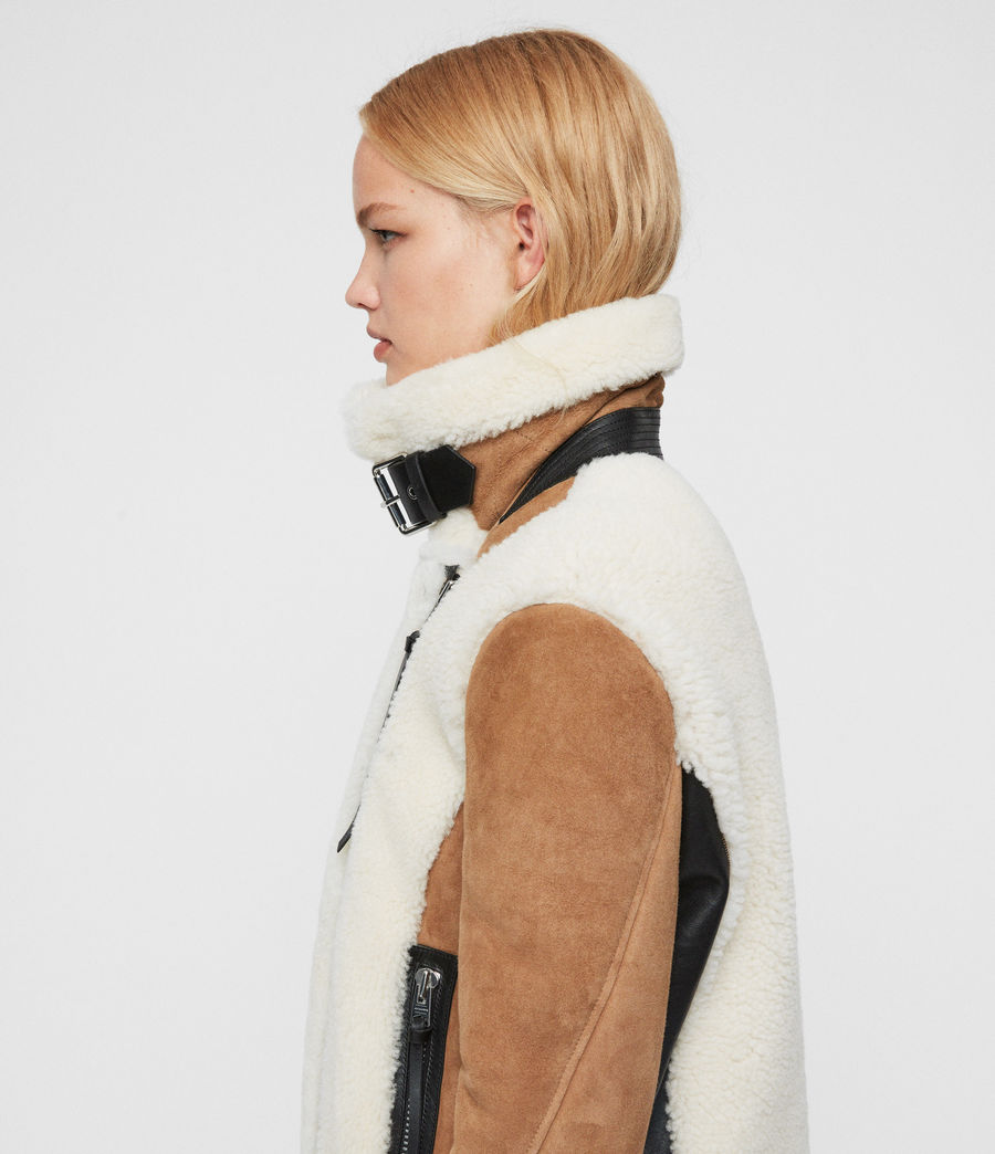 Womens Elia Shearling Biker Jacket (toffee_chalk_white) - Image 2