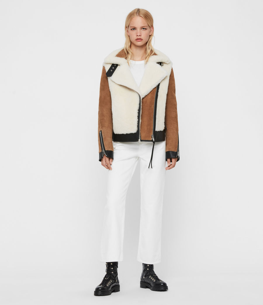 Womens Elia Shearling Biker Jacket (toffee_chalk_white) - Image 3