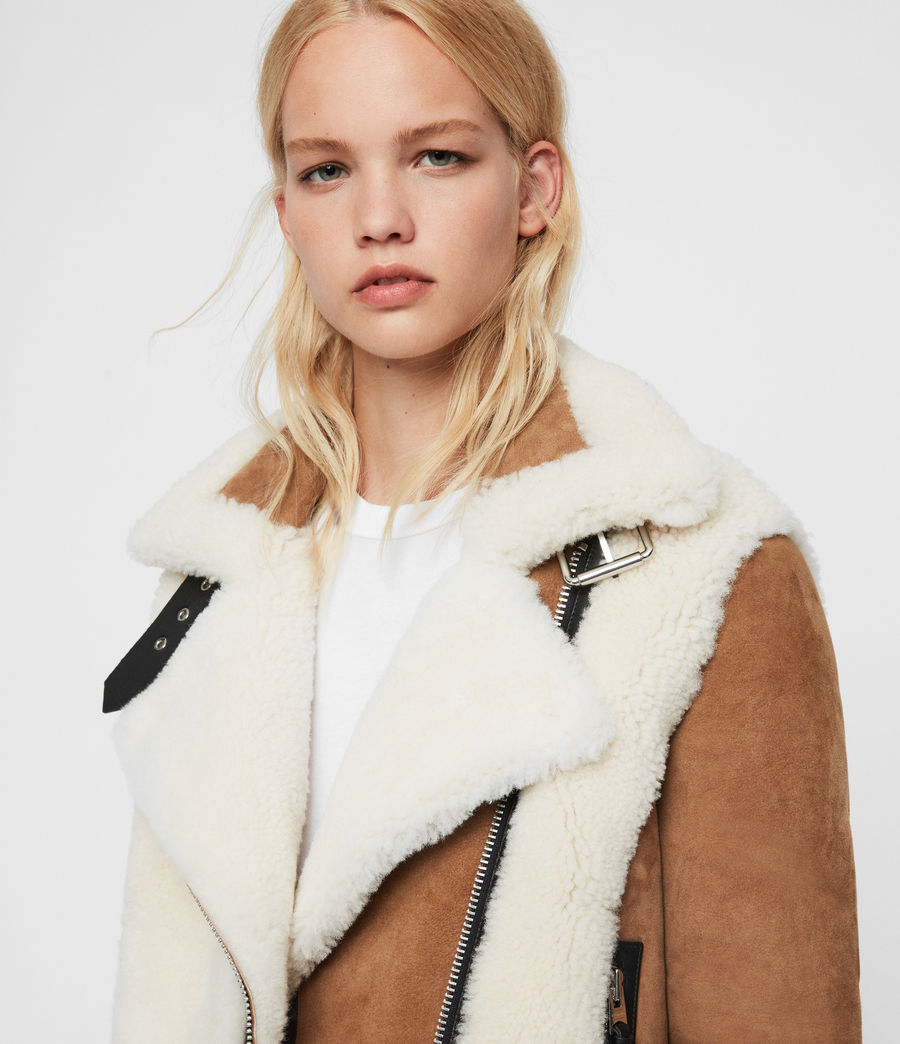 Womens Elia Shearling Biker Jacket (toffee_chalk_white) - Image 4
