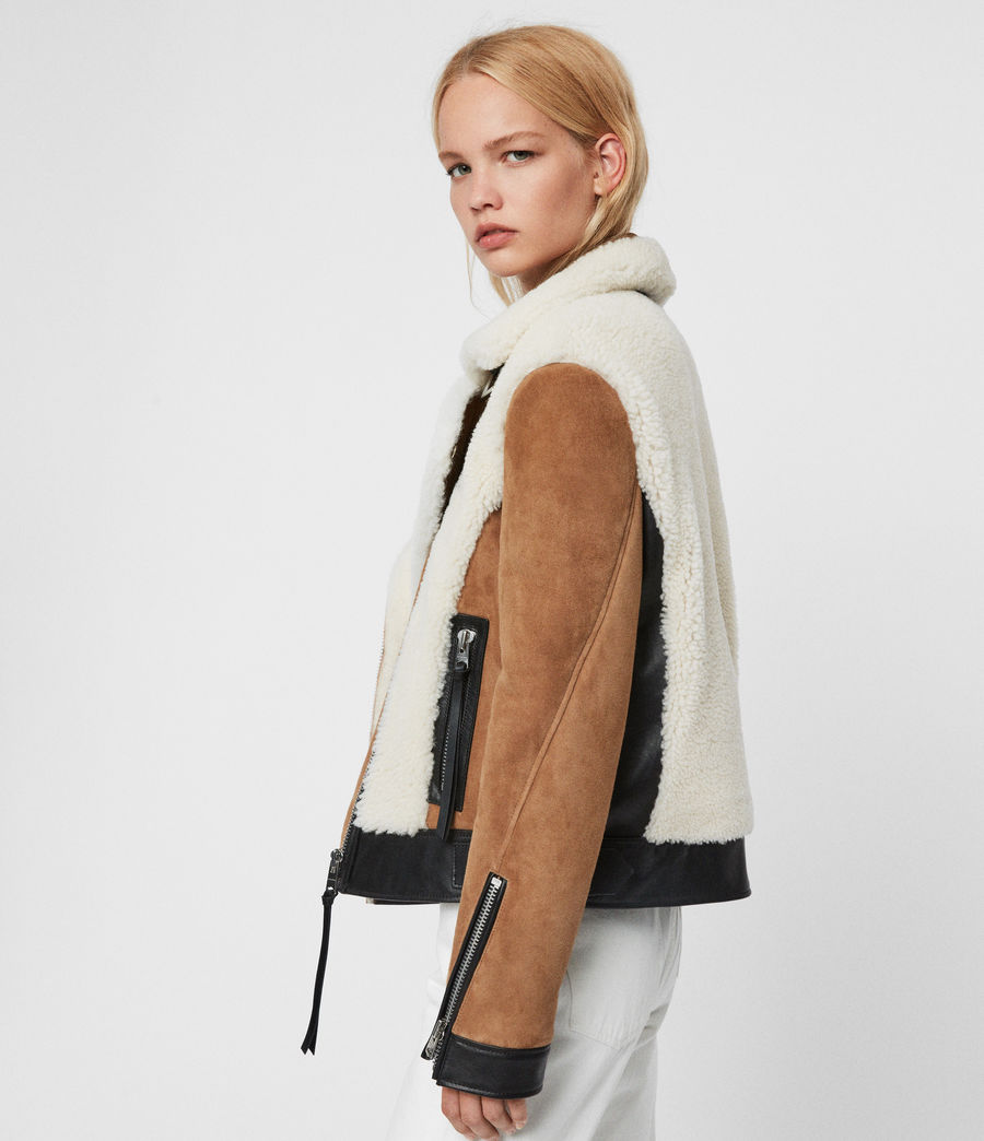 Womens Elia Shearling Biker Jacket (toffee_chalk_white) - Image 6