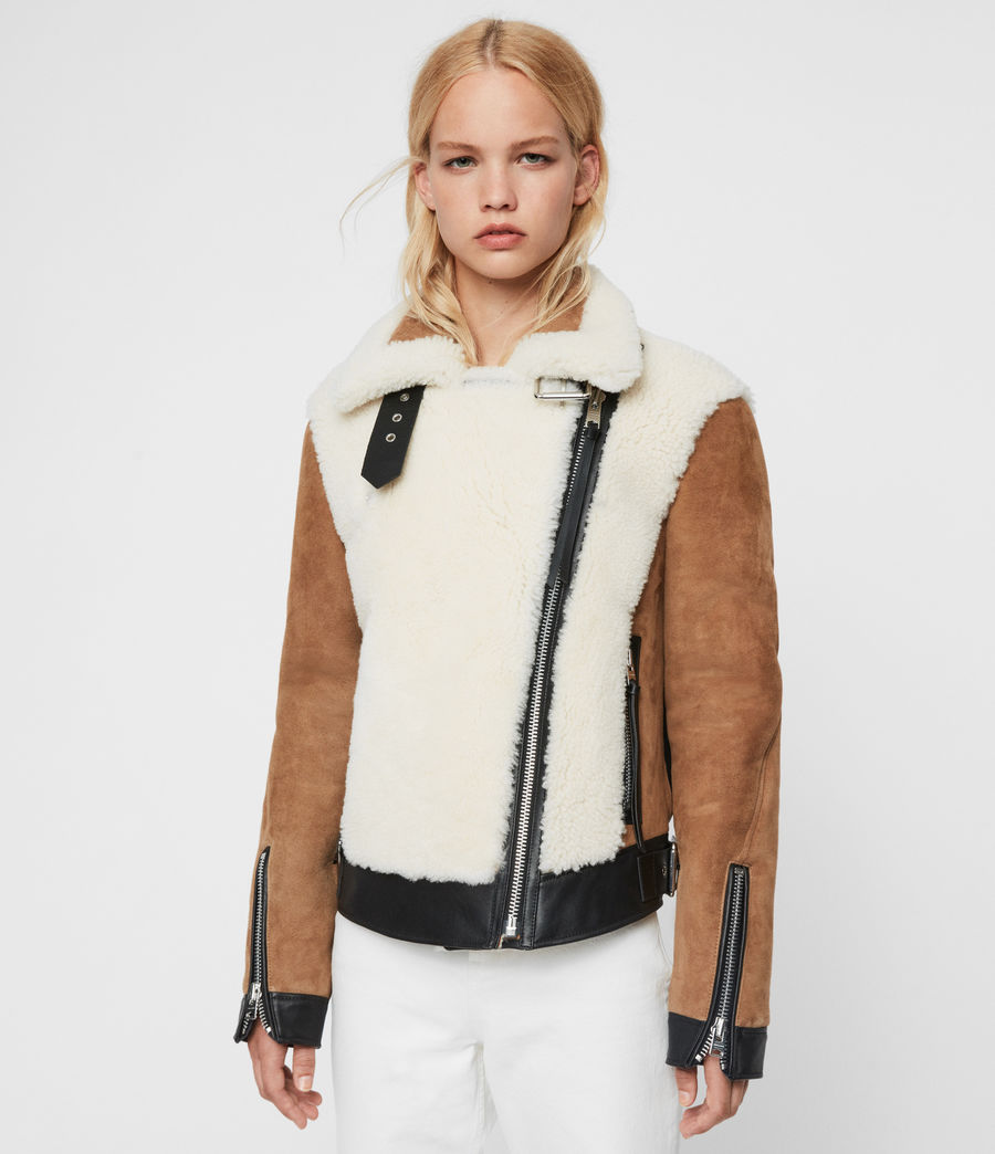Womens Elia Shearling Biker Jacket (toffee_chalk_white) - Image 7