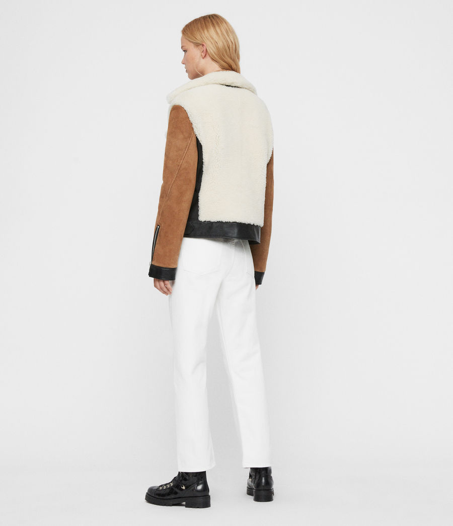Womens Elia Shearling Biker Jacket (toffee_chalk_white) - Image 8