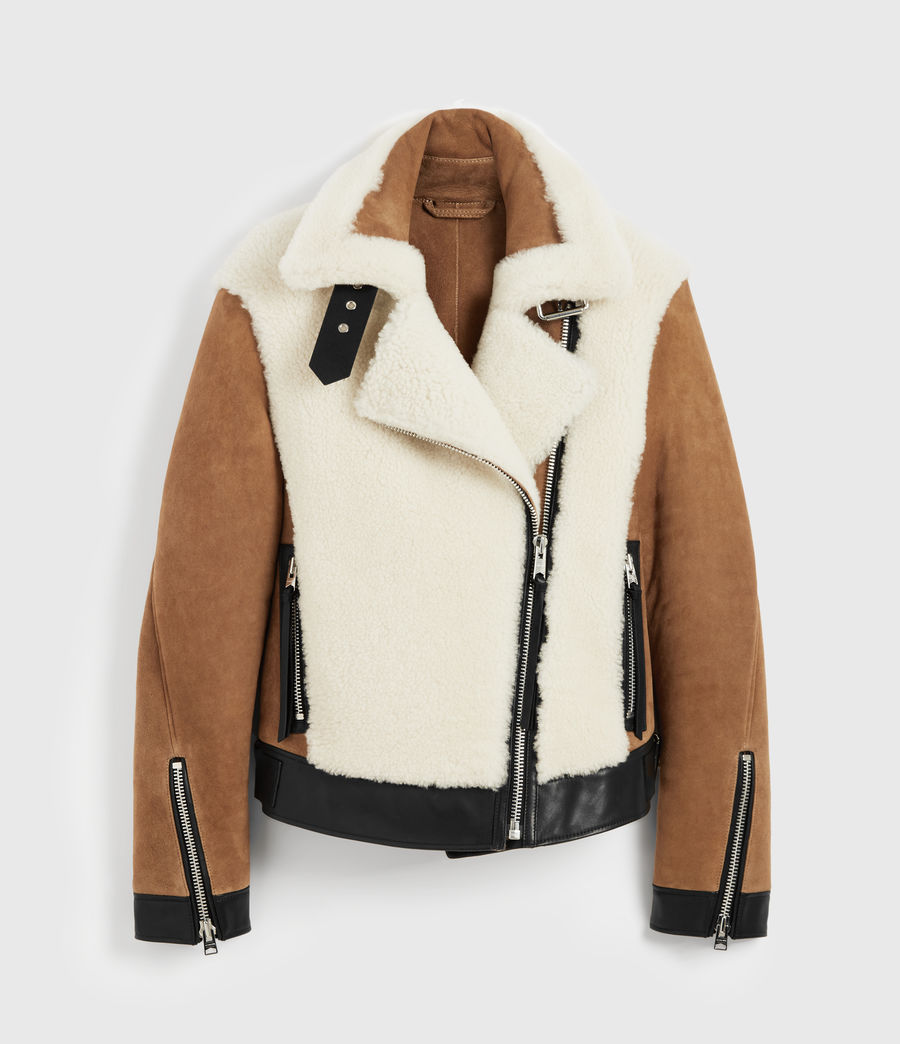 Womens Elia Shearling Biker Jacket (toffee_chalk_white) - Image 9
