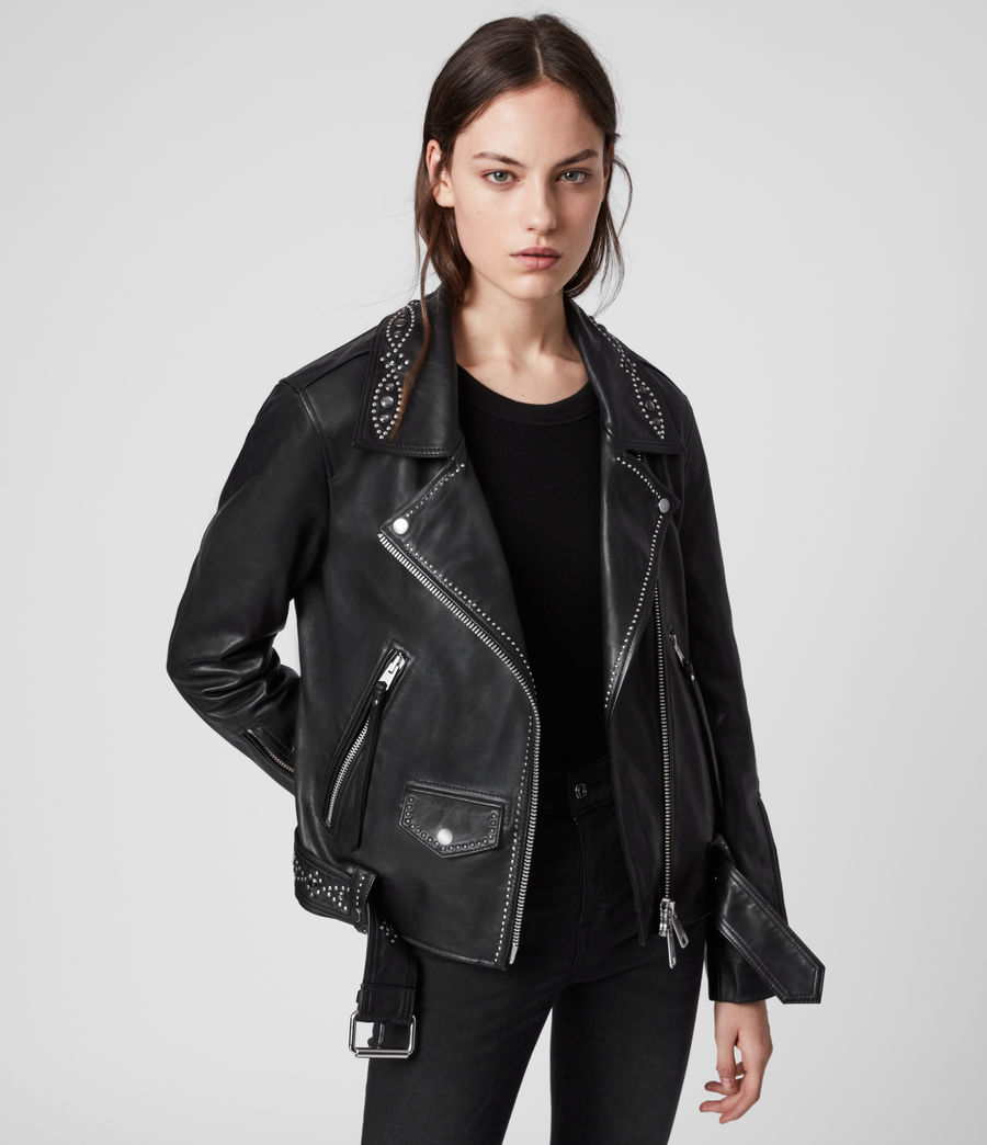 Women's Luna Studded Leather Biker Jacket (black) - Image 1