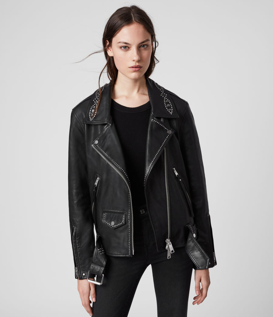 Women's Luna Studded Leather Biker Jacket (black) - Image 4