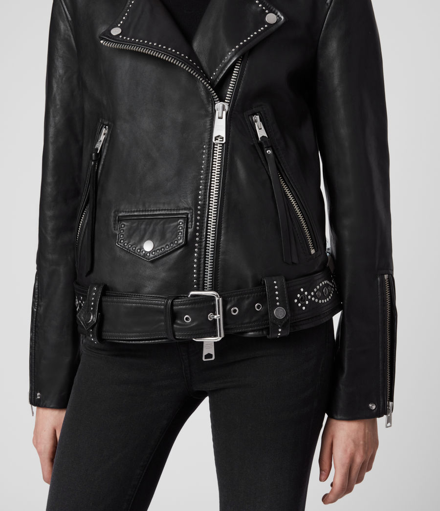 Women's Luna Studded Leather Biker Jacket (black) - Image 5