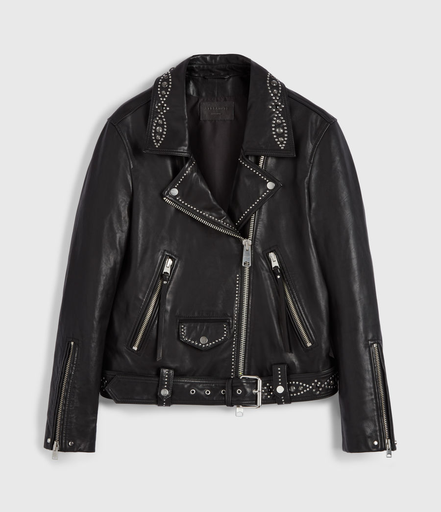 Women's Luna Studded Leather Biker Jacket (black) - Image 7