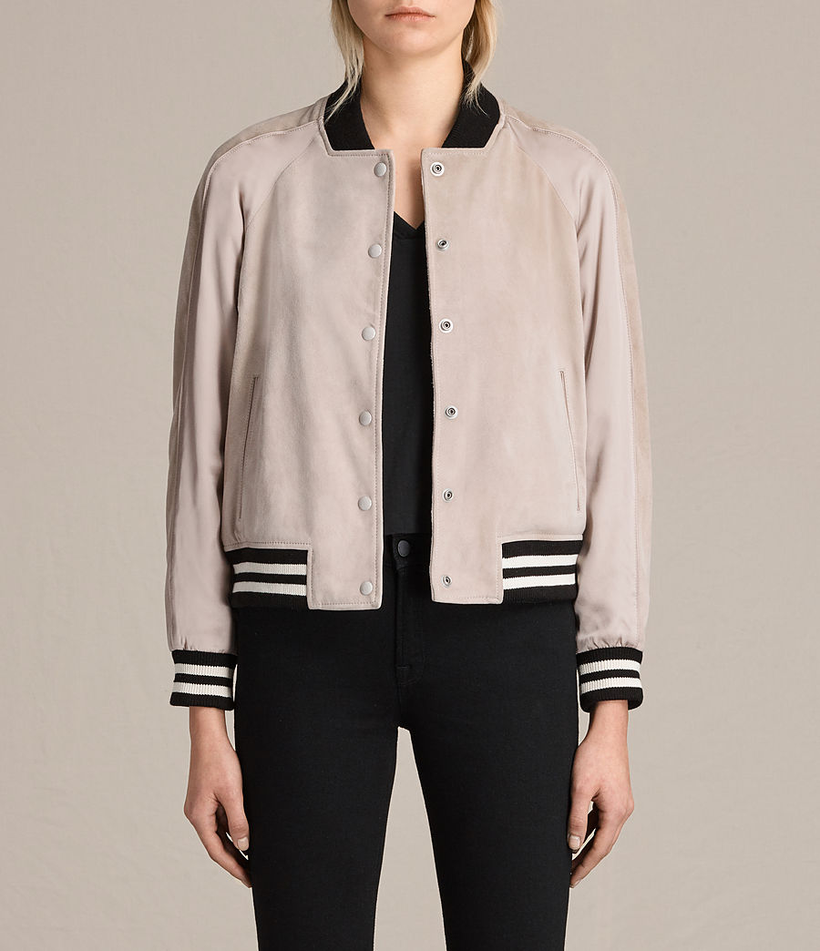 Womens Gresley Suede Bomber Jacket (wshd_pink) - Image 1