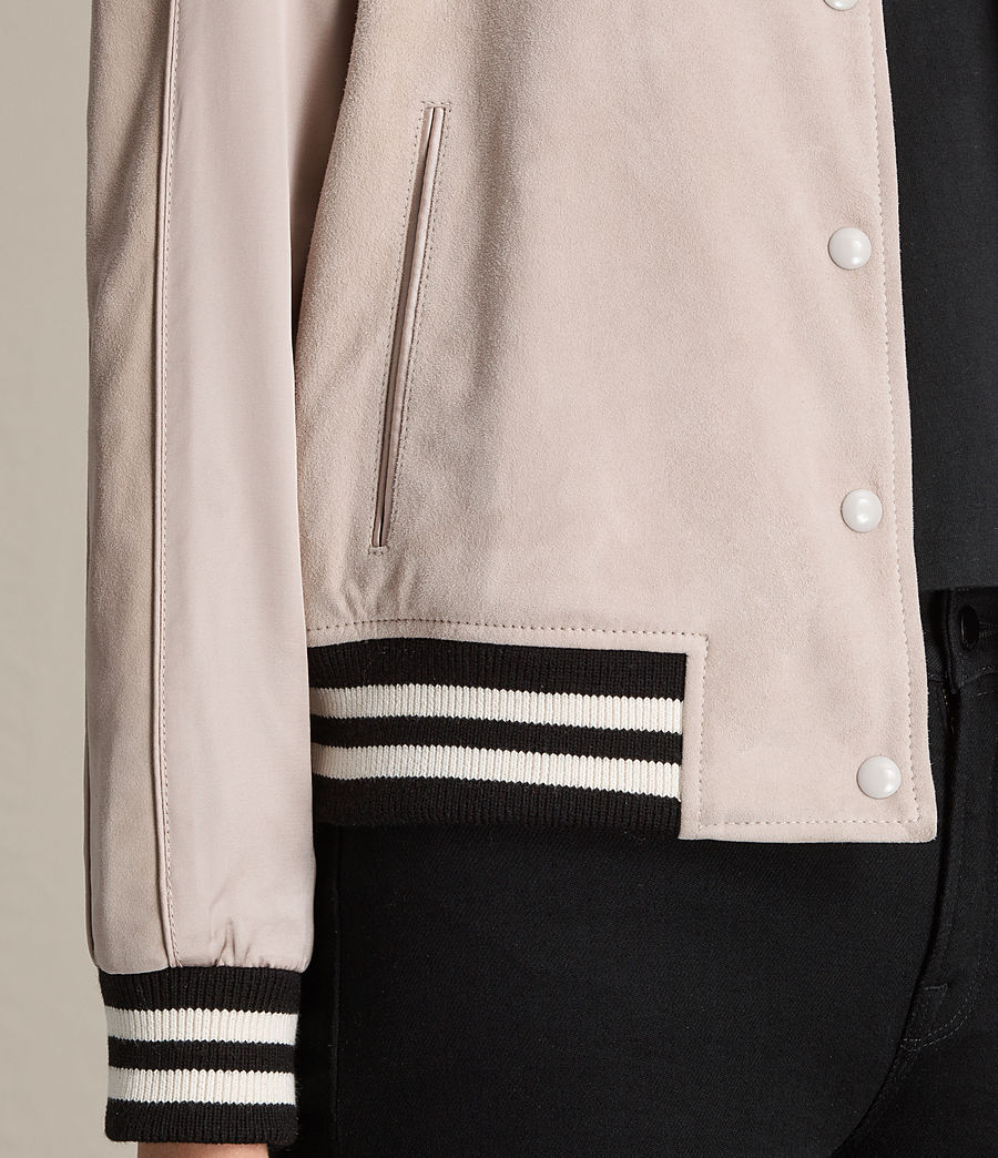 Womens Gresley Suede Bomber Jacket (wshd_pink) - Image 2