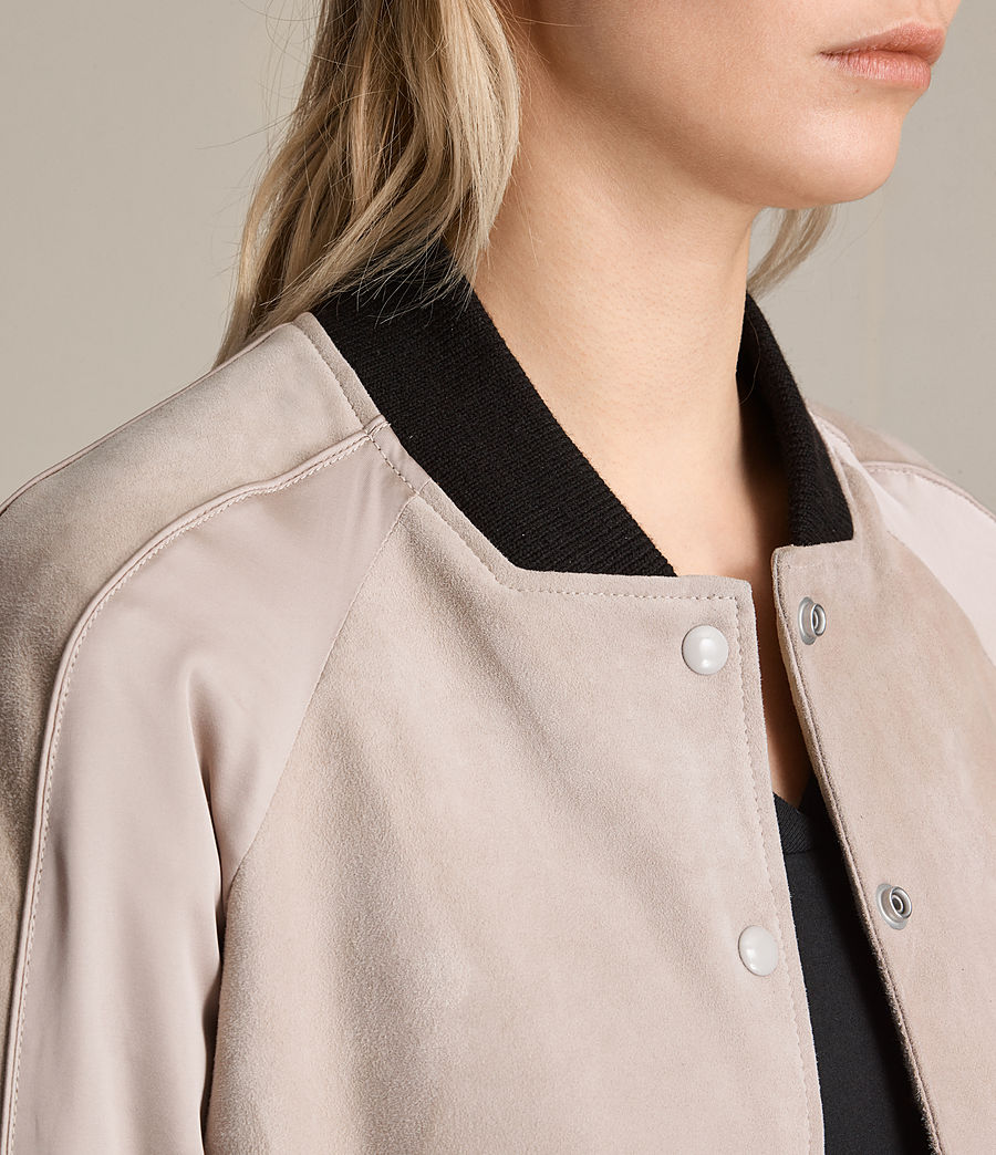 Womens Gresley Suede Bomber Jacket (wshd_pink) - Image 4