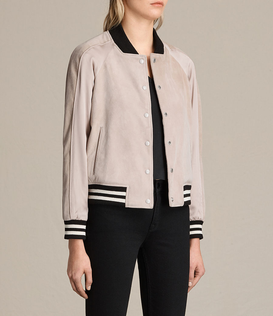 Womens Gresley Suede Bomber Jacket (wshd_pink) - Image 5