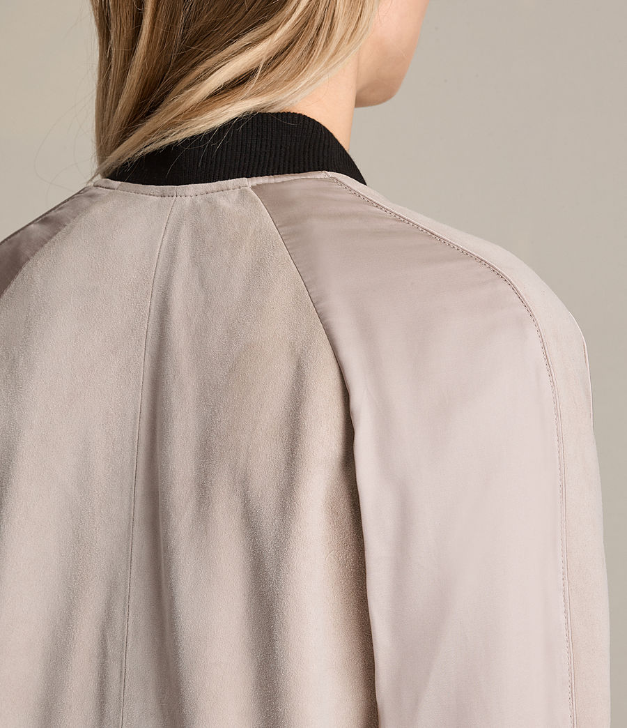 Womens Gresley Suede Bomber Jacket (wshd_pink) - Image 6