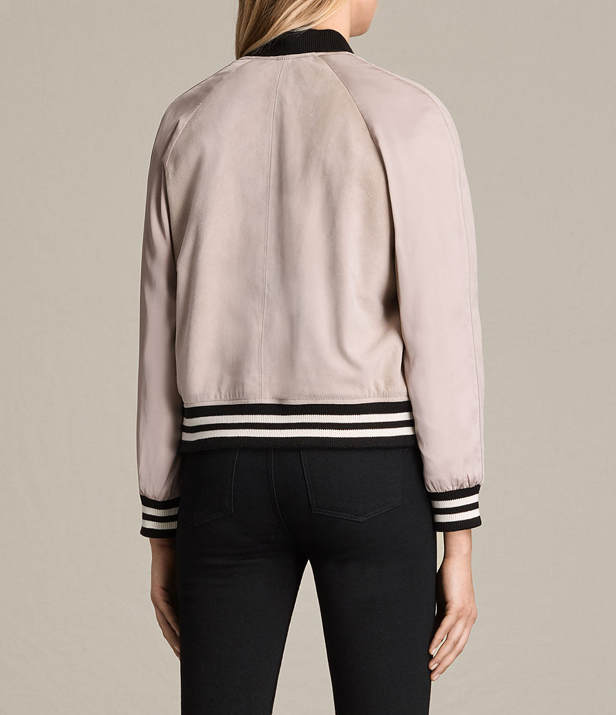 Womens Gresley Suede Bomber Jacket (wshd_pink) - Image 7