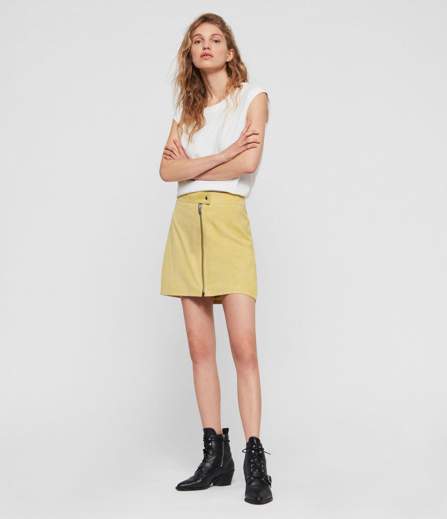 Women's Lena Suede Skirt (lime_yellow) - Image 1