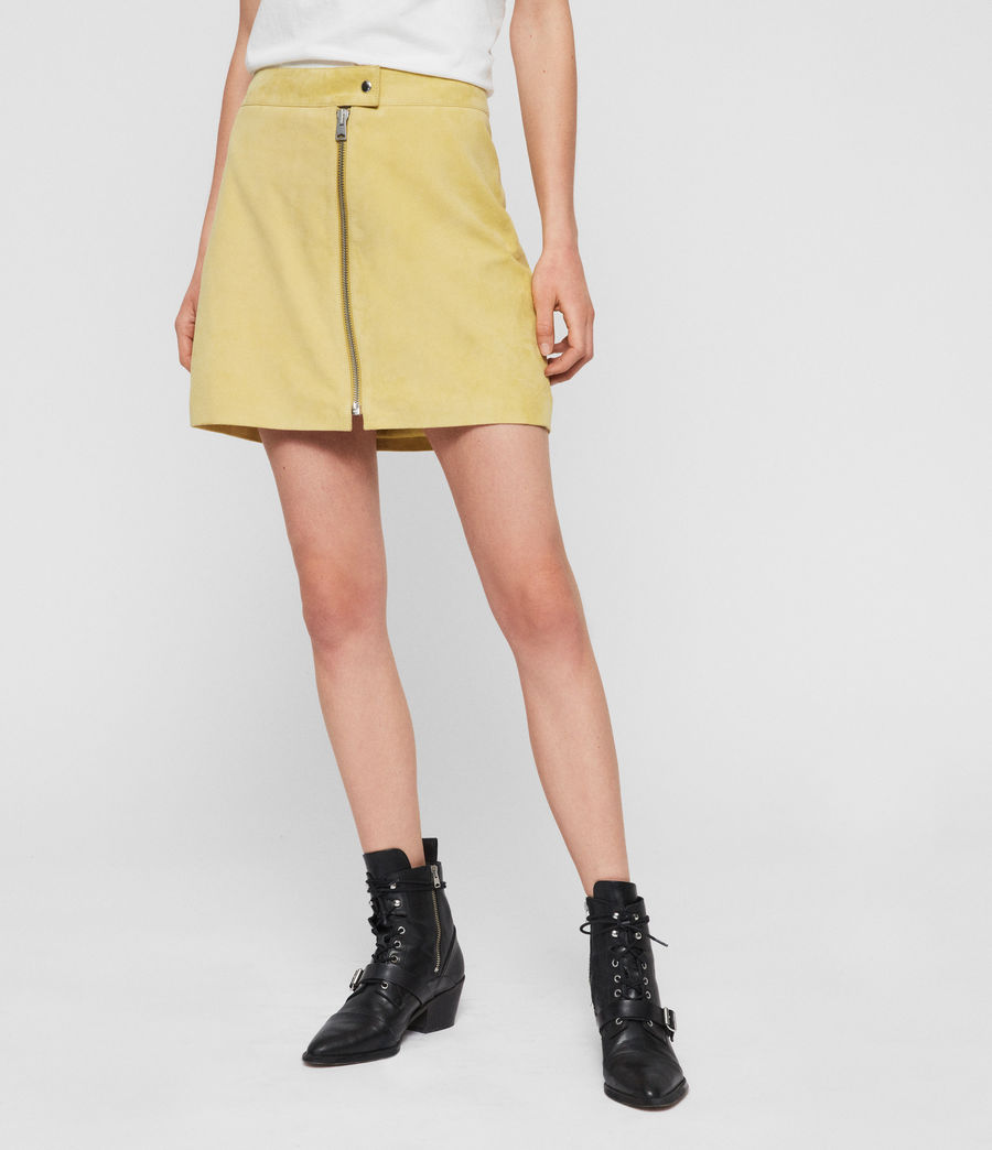 Women's Lena Suede Skirt (lime_yellow) - Image 2