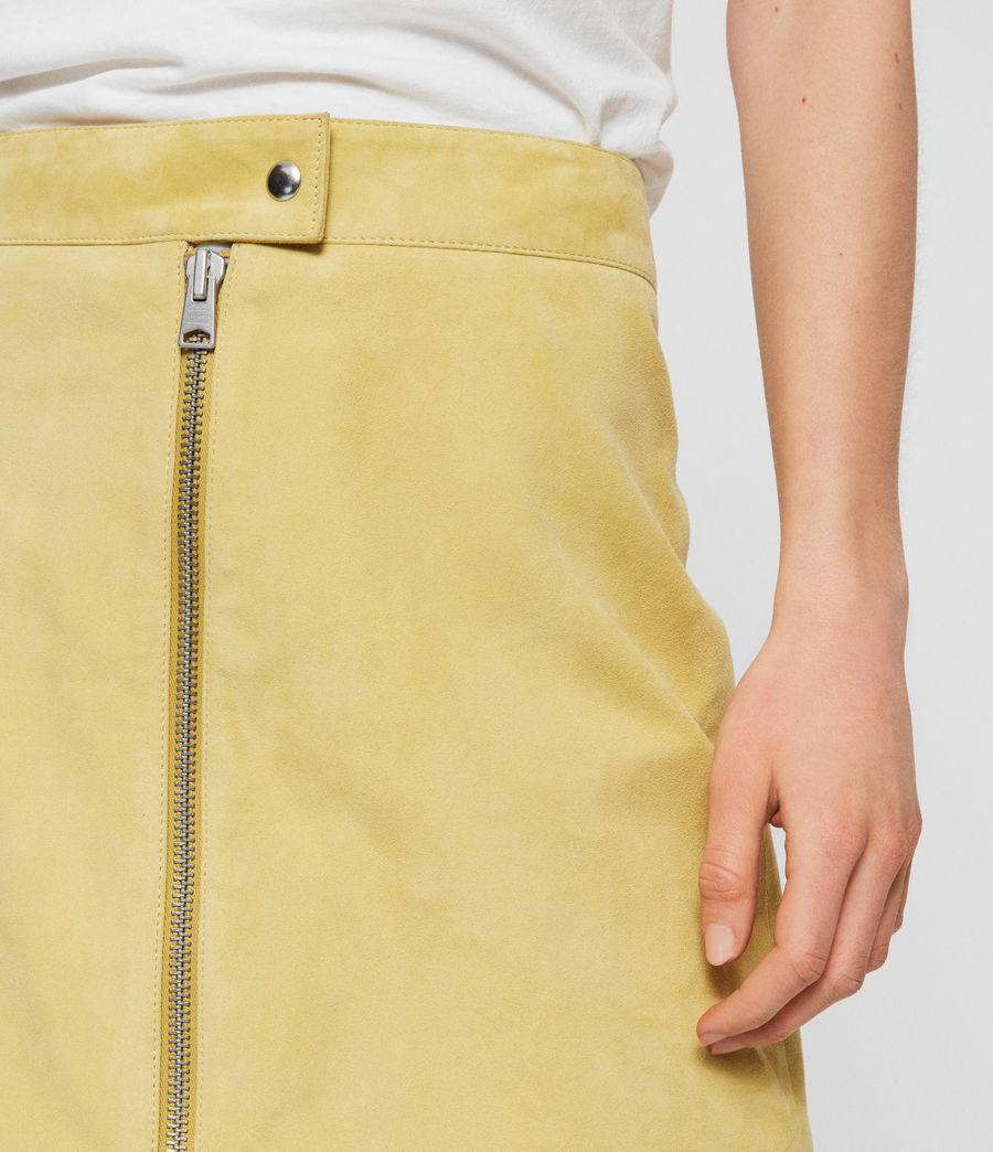 Women's Lena Suede Skirt (lime_yellow) - Image 3