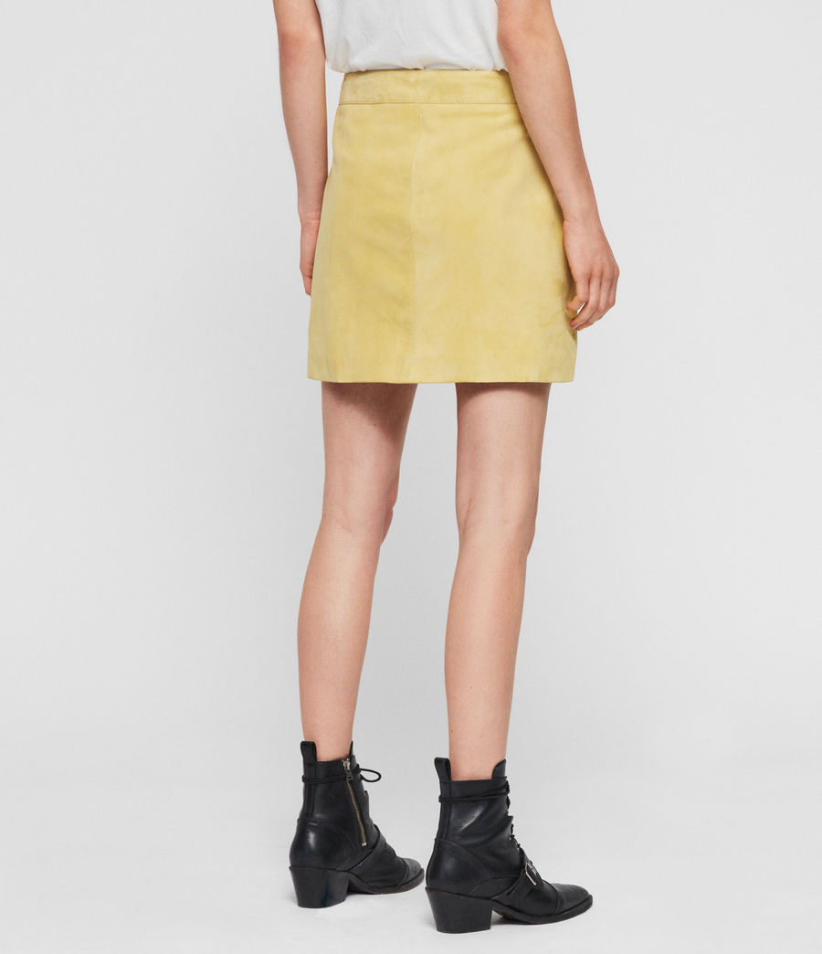 Women's Lena Suede Skirt (lime_yellow) - Image 4