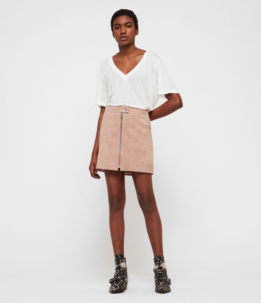 Women's Lena Suede Skirt (putty_pink) - Image 1