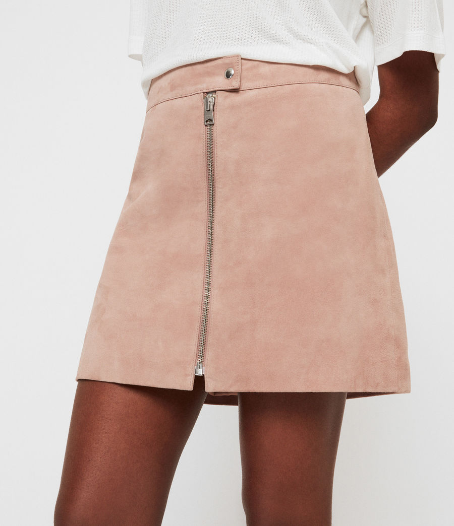 Women's Lena Suede Skirt (putty_pink) - Image 3