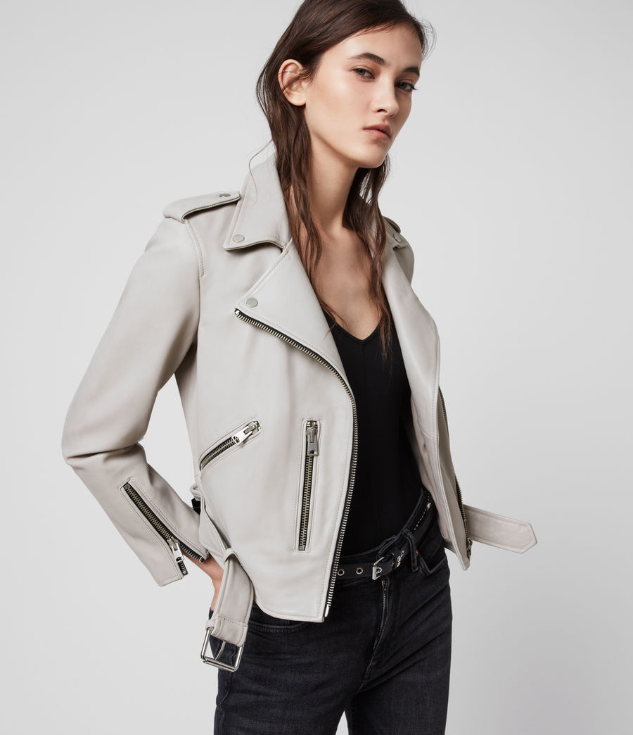Womens Balfern Leather Biker Jacket (cement_grey) - Image 1