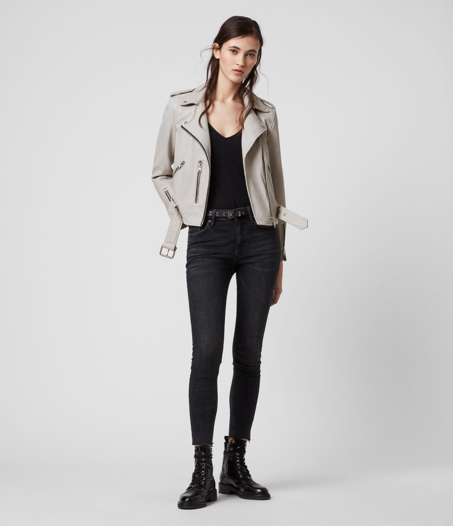 Womens Balfern Leather Biker Jacket (cement_grey) - Image 3
