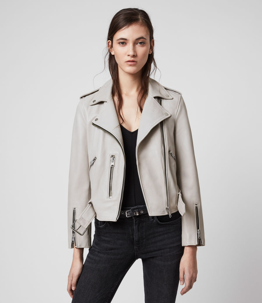 Womens Balfern Leather Biker Jacket (cement_grey) - Image 4