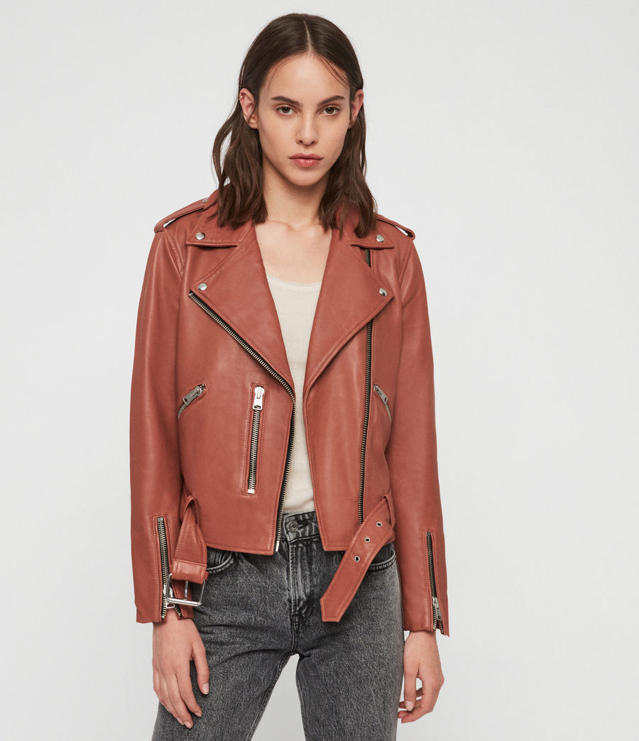 Women's Balfern Leather Biker Jacket (rose_wood_pink) - Image 1