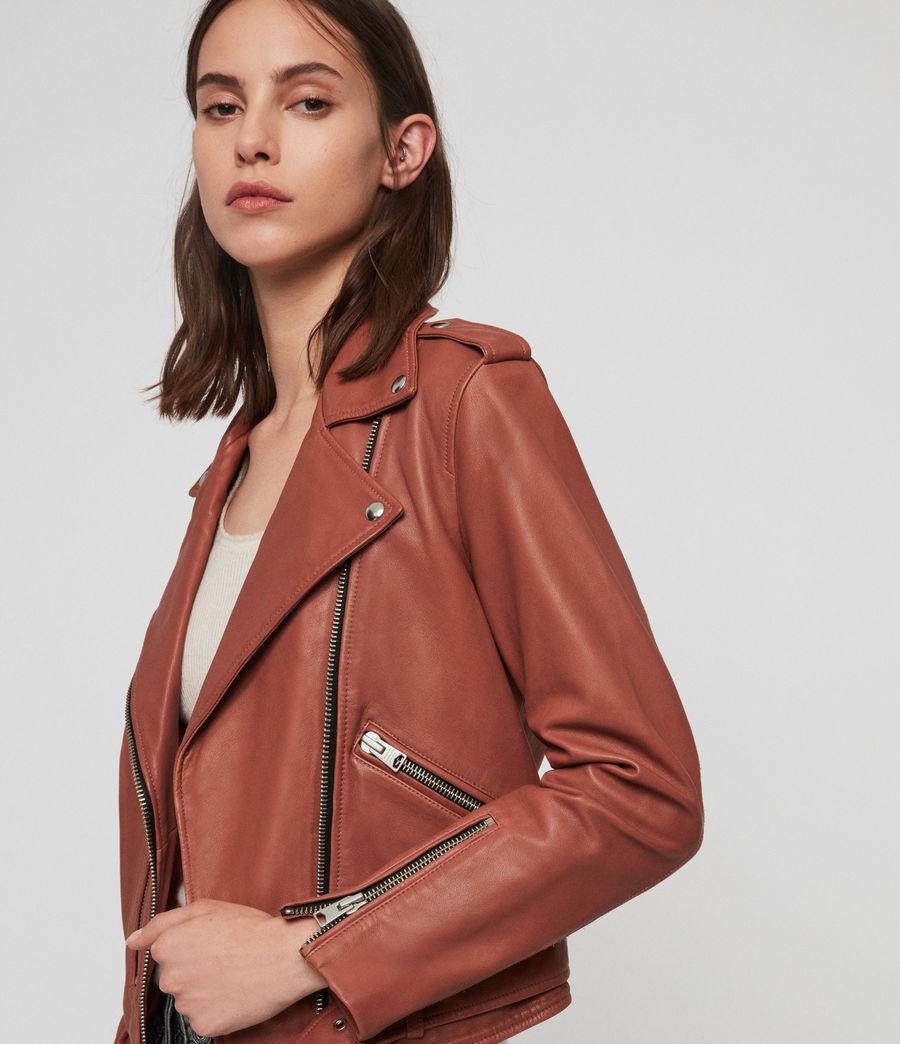 Women's Balfern Leather Biker Jacket (rose_wood_pink) - Image 2