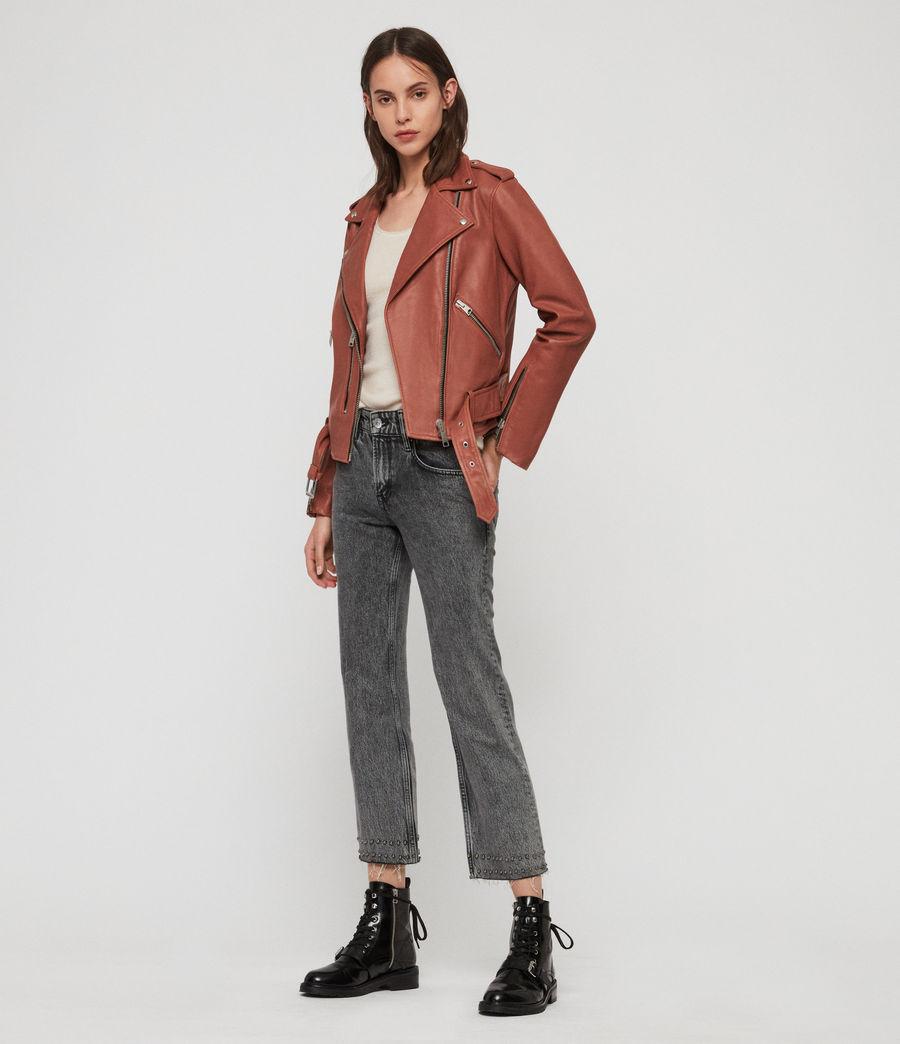 Women's Balfern Leather Biker Jacket (rose_wood_pink) - Image 3