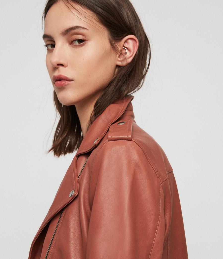 Women's Balfern Leather Biker Jacket (rose_wood_pink) - Image 4