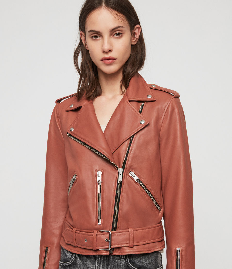 Women's Balfern Leather Biker Jacket (rose_wood_pink) - Image 5