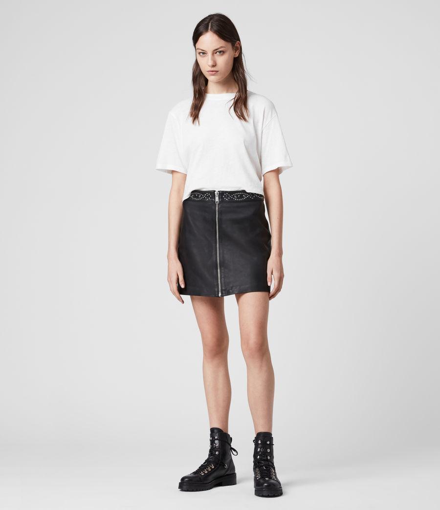 Mujer Minifalda de Piel con Aplicaciones Luna (black) - Image 1
