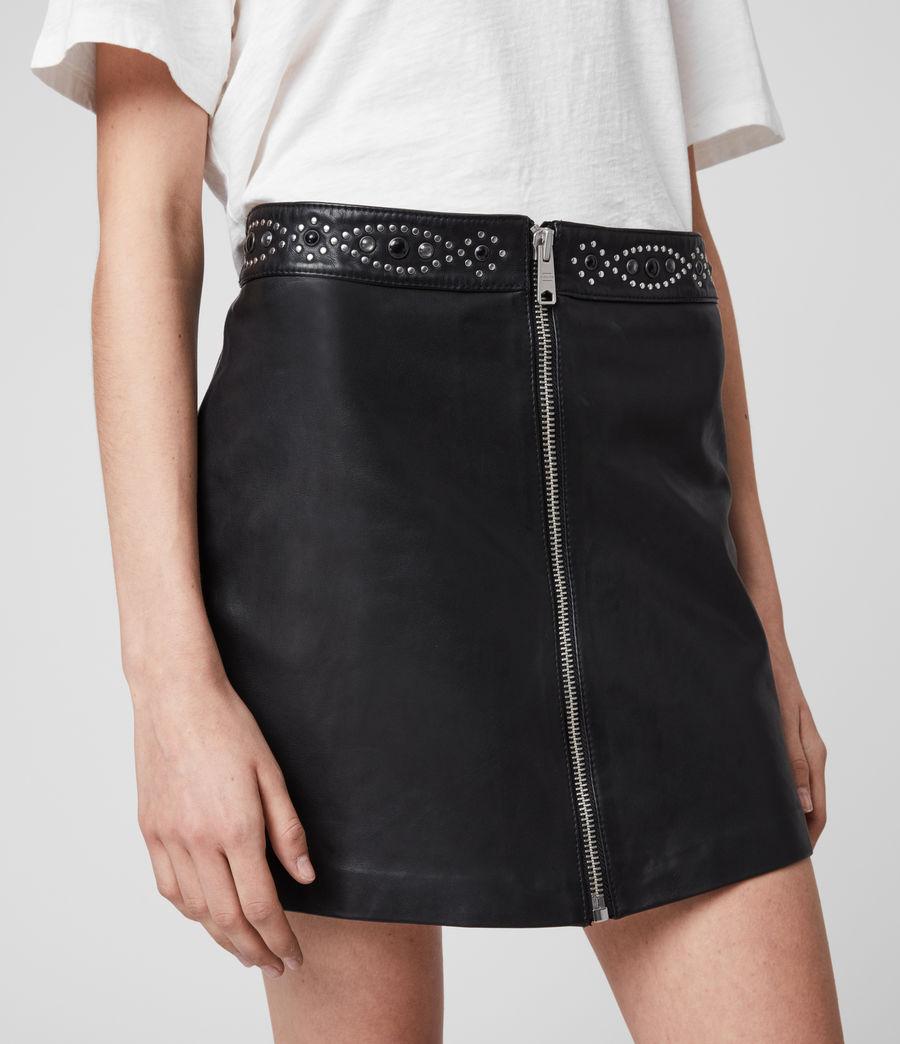Womens Luna Studded Leather Skirt (black) - Image 2