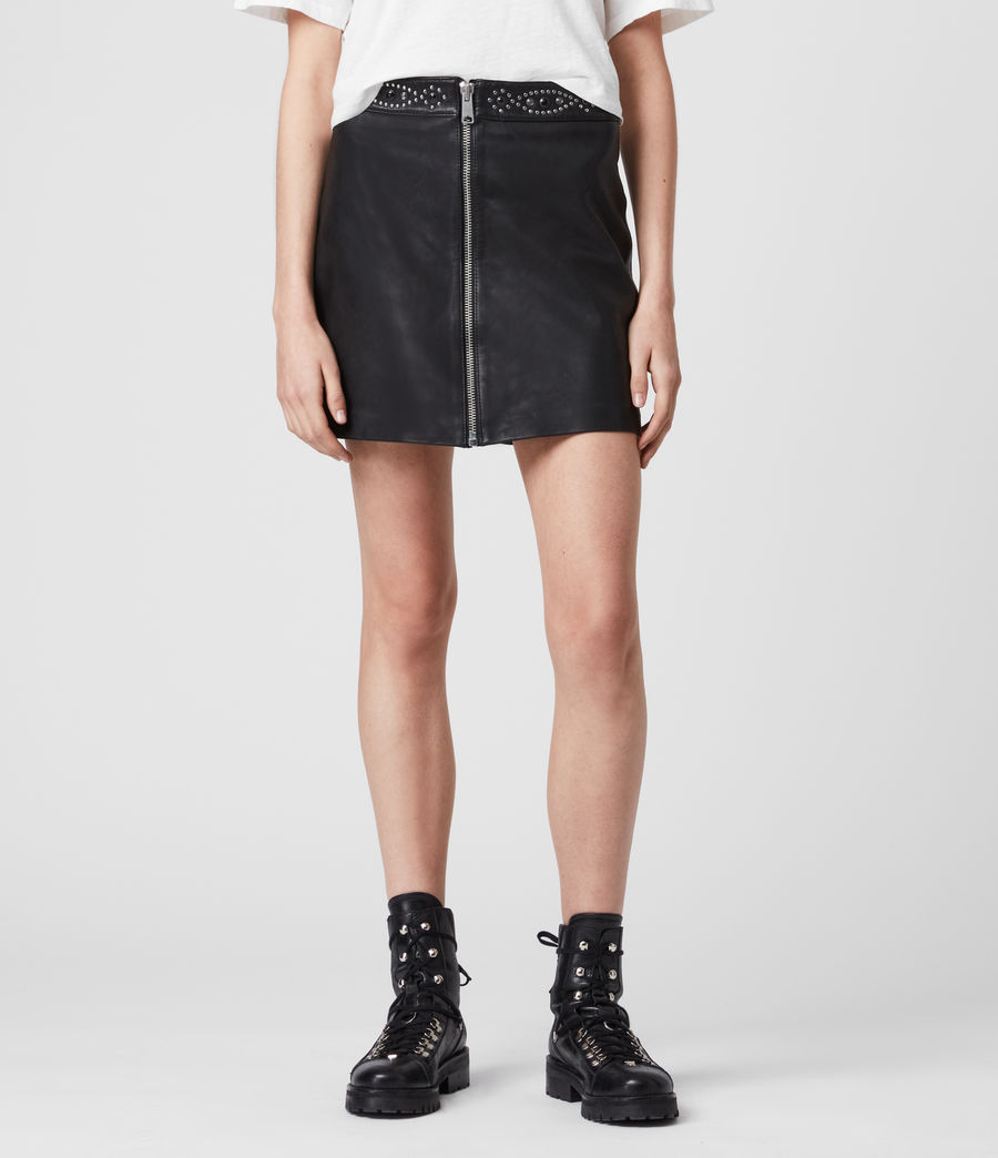 Womens Luna Studded Leather Skirt (black) - Image 3