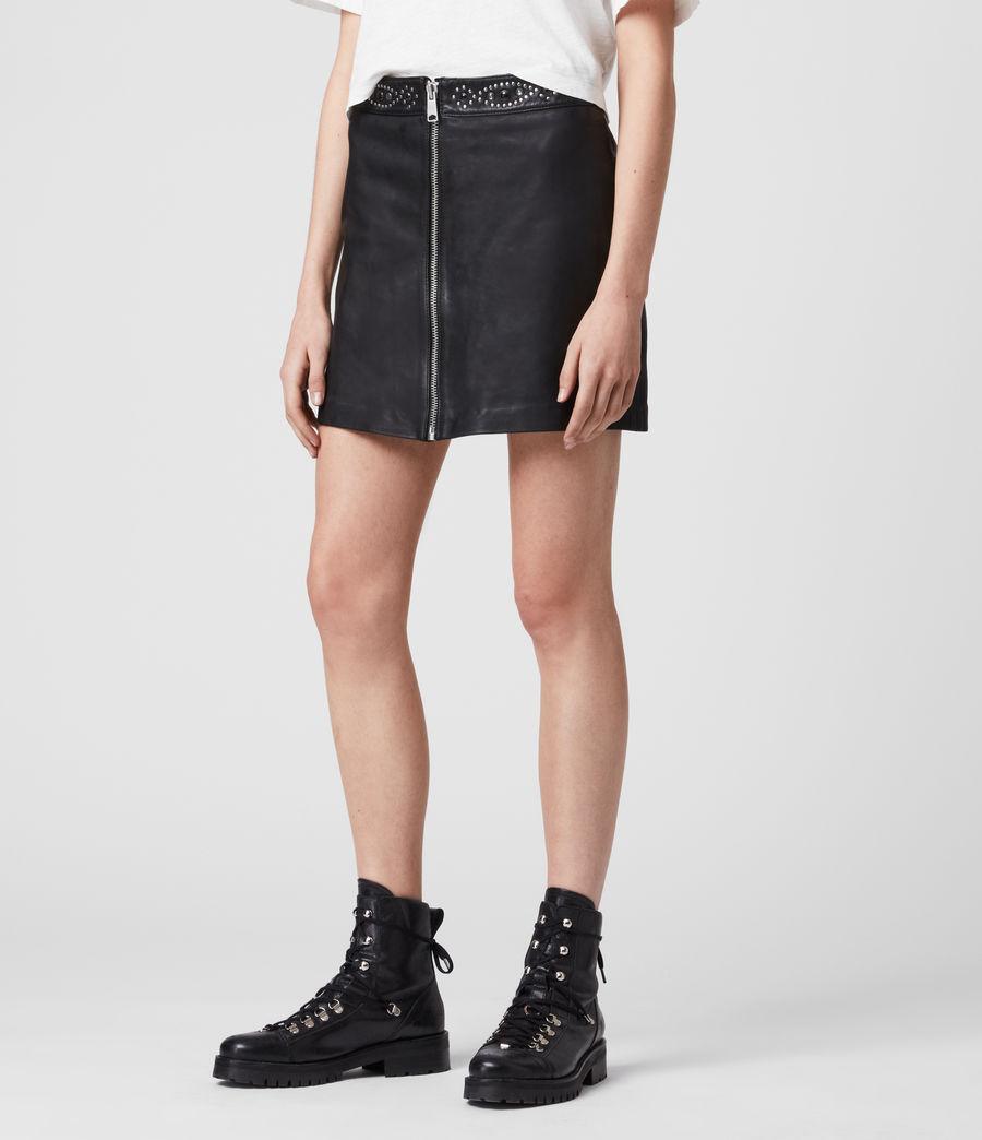 Mujer Minifalda de Piel con Aplicaciones Luna (black) - Image 4