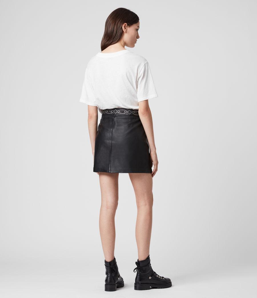 Mujer Minifalda de Piel con Aplicaciones Luna (black) - Image 5