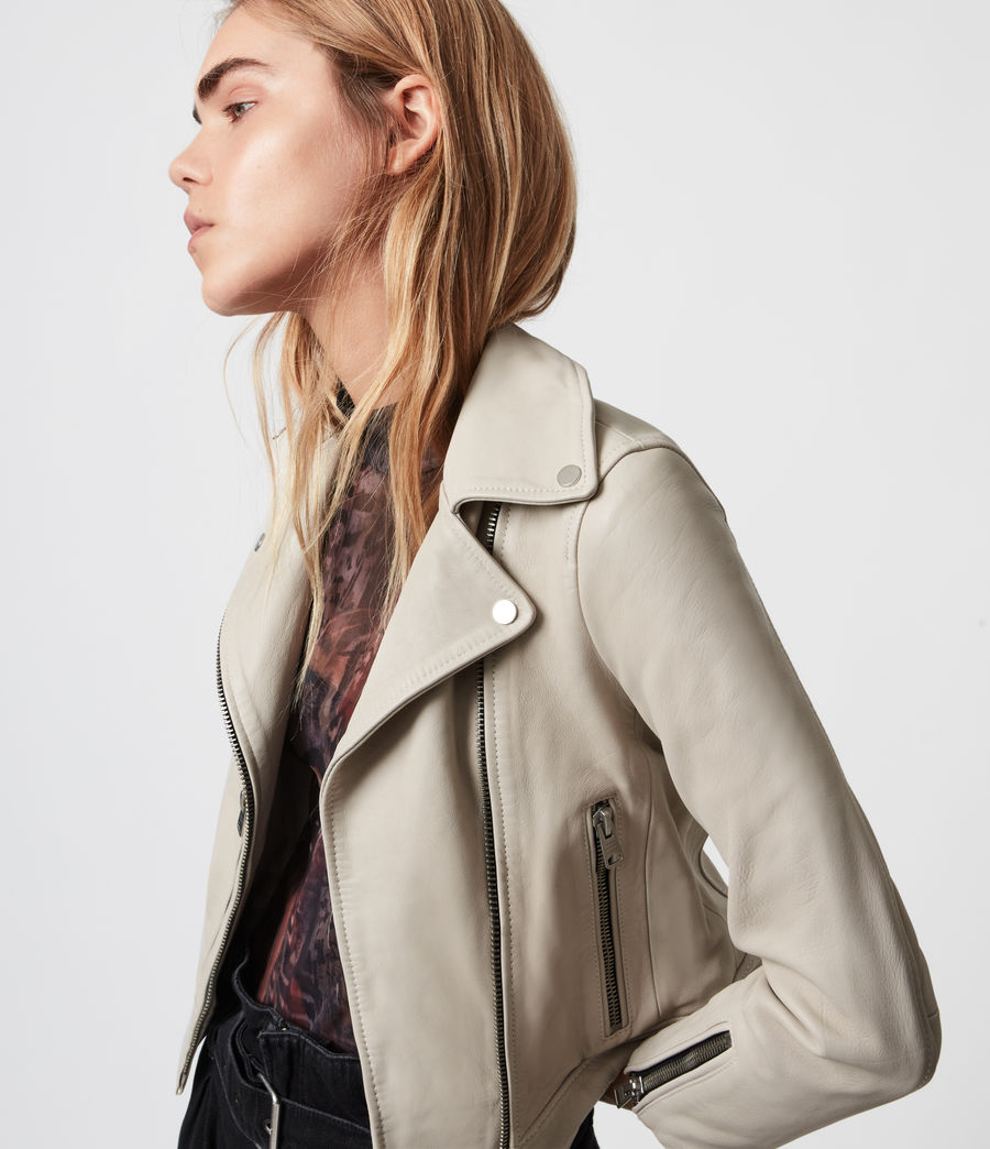 Womens Kara Leather Biker Jacket (white) - Image 1
