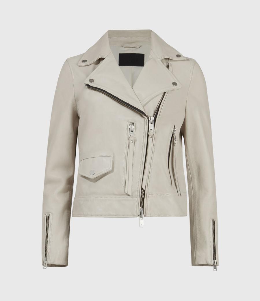 Womens Kara Leather Biker Jacket (white) - Image 3