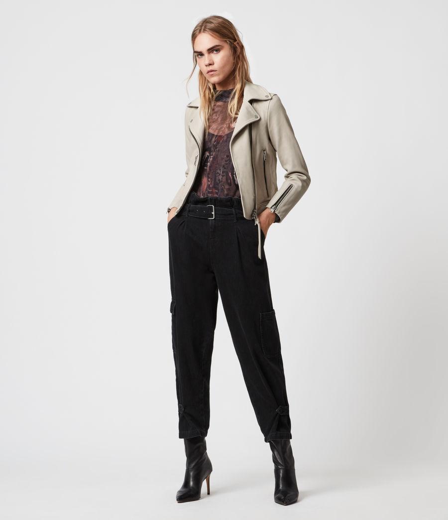 Womens Kara Leather Biker Jacket (white) - Image 5