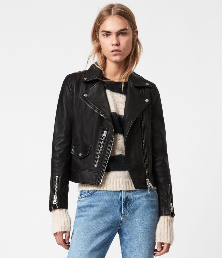 Womens Kara Leather Biker Jacket (black) - Image 1